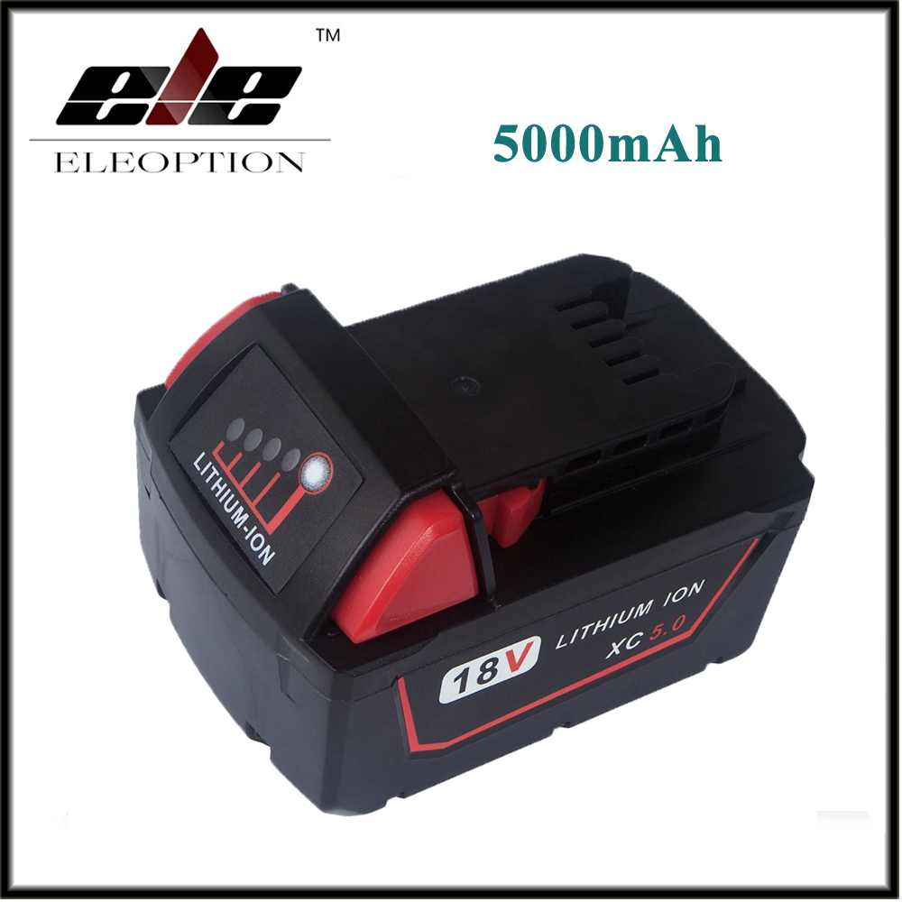 High Capacity 5000mAh 18V Li-Ion Replacement Power Tool Battery for Milwaukee M18 XC 48-11-1815 M18B2 M18B4 M18BX M18BX replacement li ion battery charger power tools lithium ion battery charger for milwaukee m12 m18 electric screwdriver ac110 230v