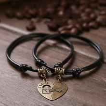 Retro Couple Bracelet Japanese And Korean Fashion Black Rope Retro Rope Hand Chain Love Bracelet Jewelry For Couple