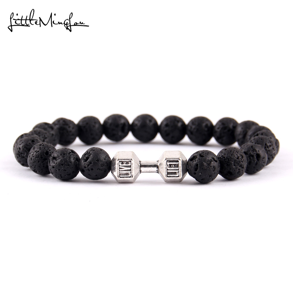 Little Minglittle Fitness haltère Barbell charme gym hommes bracelet - Bijoux fantaisie - Photo 2
