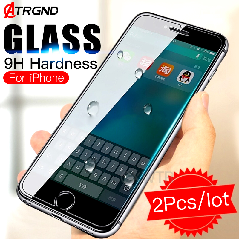 2 Pack Protective Tempered Glass For Iphone 6 6s 7 8 Plus Xr Screen Protector Film On The For Iphone Xs Max X 5 5s Se Glass To Produce An Effect Toward Clear Vision