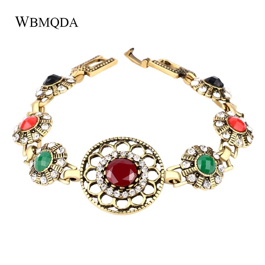 Vintage Hollow Flower Pattern Charm Bracelet Gold Color Bohemian Bracelets For Women Fashion Crystal Indian Jewelry