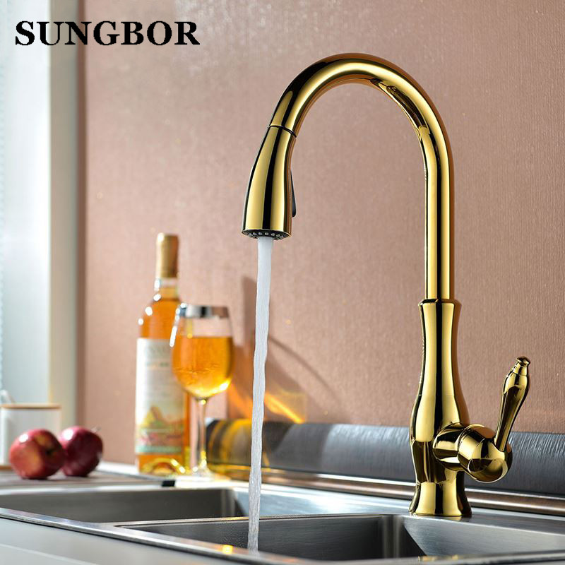 все цены на Luxury Golden Handheld Pull Out Kitchen Faucet Deck Mounted 360 Swivel Kitchen Mixer Hot and Cold Taps Stream Sprayer Nozzle