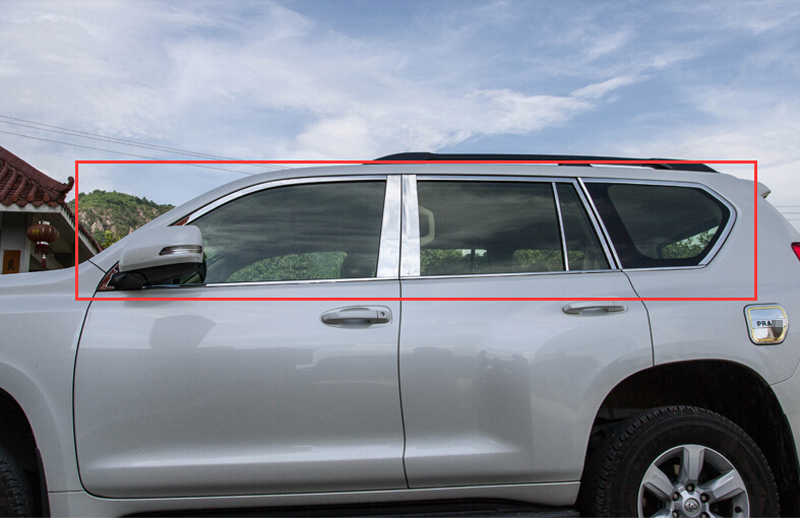 2018 2016 2017 For Toyota Land Prado FJ150 2014 2015 Stainless Chrome Window Sill Trim Cover With Center Pillar 24pcs/set stainless steel full window with center pillar decoration trim car accessories for hyundai ix35 2013 2014 2015 24