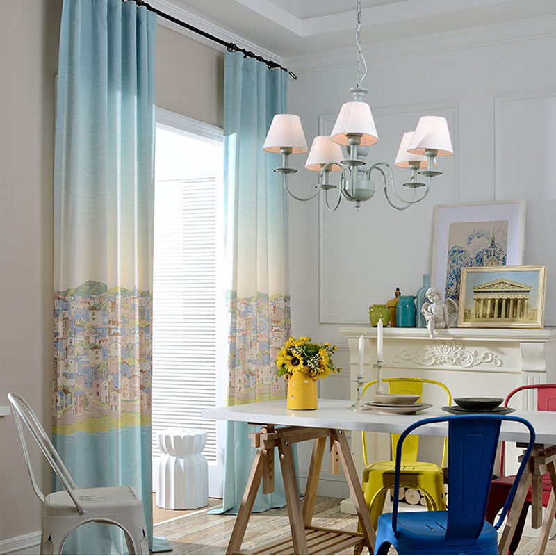 1 Room Kitchen Decoration: Room Kids Decoration Blue Cartoon Curtains Living Room