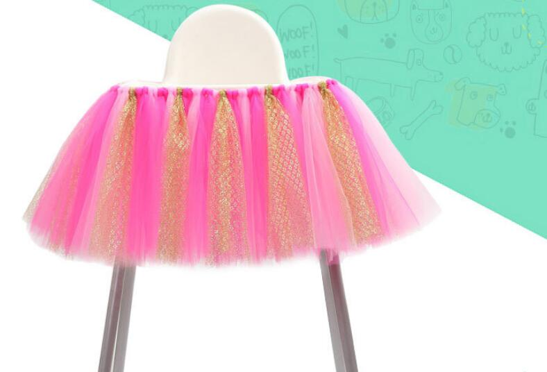 Aniversary Baby Chair Decoration One year old Children 39 s Birthday Party Dining Chairs Skirt Infant Colored Home Festival in Aisle Runners from Home amp Garden