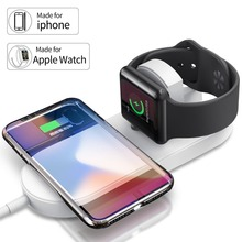 Qi Wireless Charger 2 in 1 Fast Charging Dock Pad for iPhone XS MAX XR 8 Plus For AppleWatch 3 Airpower Samsung S9 S8
