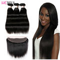 8a ms lula Brazilian virgin Hair With Closure Brazilian Straight Hair With Closure Ear To Ear Lace Frontal Closure With Bundles
