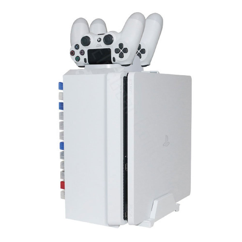 PS4/PS4Pro/PS4Slim Games Disk Tower Vertical Stand White DVD Disc Storage Dual Charger Station Dock for Playstation 4 XBOX ONE S