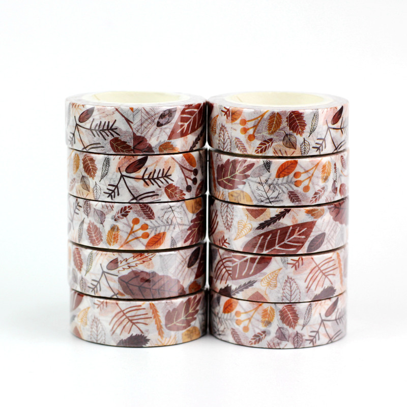 10pcs/lot Decorative Brown Leaves Washi Tapes Paper DIY Scrapbooking Planner Adhesive Masking Tapes Kawaii Stationery