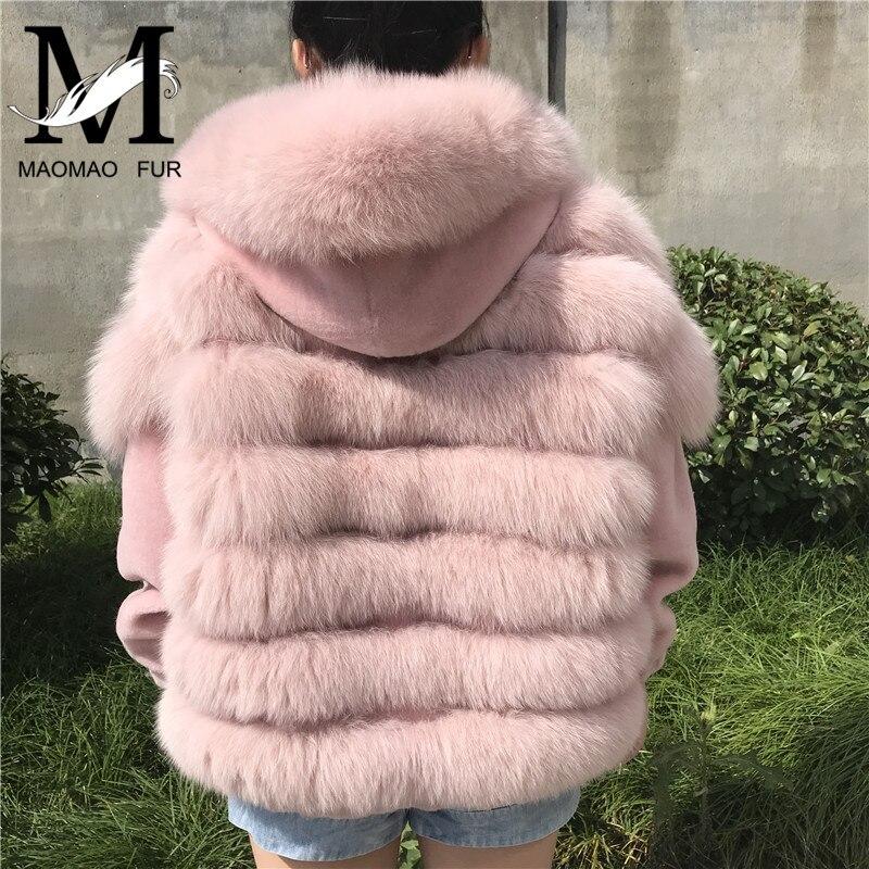 Новый Для женщин лисий мех бомбардировщик пальто реального Shearling Jacket Double Face одежда Фокс меховой воротник пальто Зимние Оригинальные Мехова
