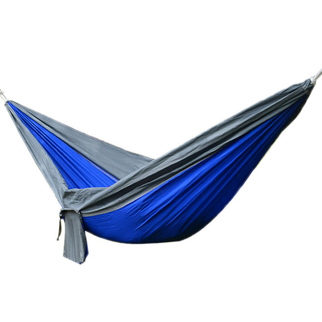Medium image of outdoor portable 2 people camping hammock parachute cloth hammocks bearing 200kg travel garden sleeping leisure kit