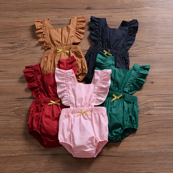 Girls Kids Infant Bow Halter Backless Ruffles Fly Sleeve Rompers Princess Candy Color Summer New Children Romper