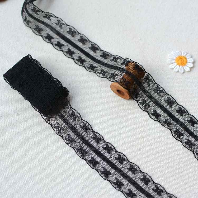5 m Đen song phương hoa nhỏ polyester mịn ren cắt DIY búp bê ren vải nhà phụ kiện trang trí ren ribbon HY216