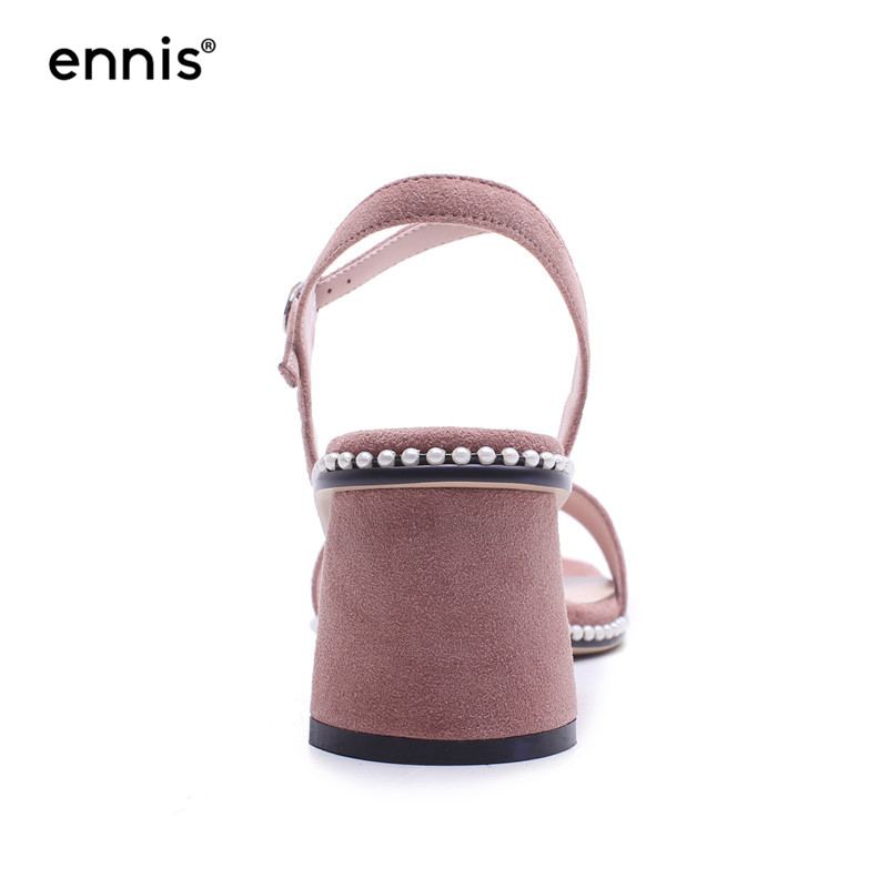 88e3230dc8a68 ... Leather Suede M8107 Summer Women New Sandals ENNIS Gladiator Quality  High High Studded 2018 Heels Chunky