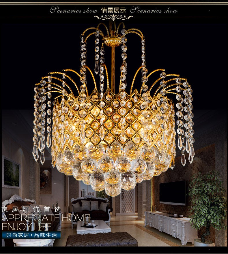 2017 Gold Crystal Chandelier Lamp Luxury Crystal Fixture Lights Lusters de cristal Chandeliers Ceiling For Living Room2017 Gold Crystal Chandelier Lamp Luxury Crystal Fixture Lights Lusters de cristal Chandeliers Ceiling For Living Room