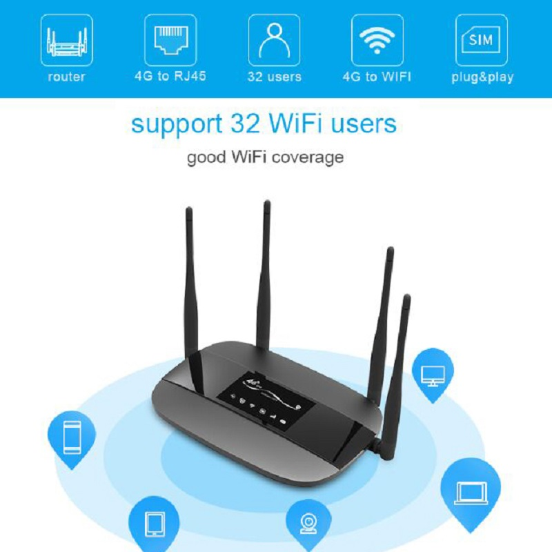 TIANJIE desbloqueado 300Mbps 4 antenas externas enrutador WiFi hogar 3G 4G GSM LTE router hotspot módem 4G 4g router con tarjeta SIM ranura - 3