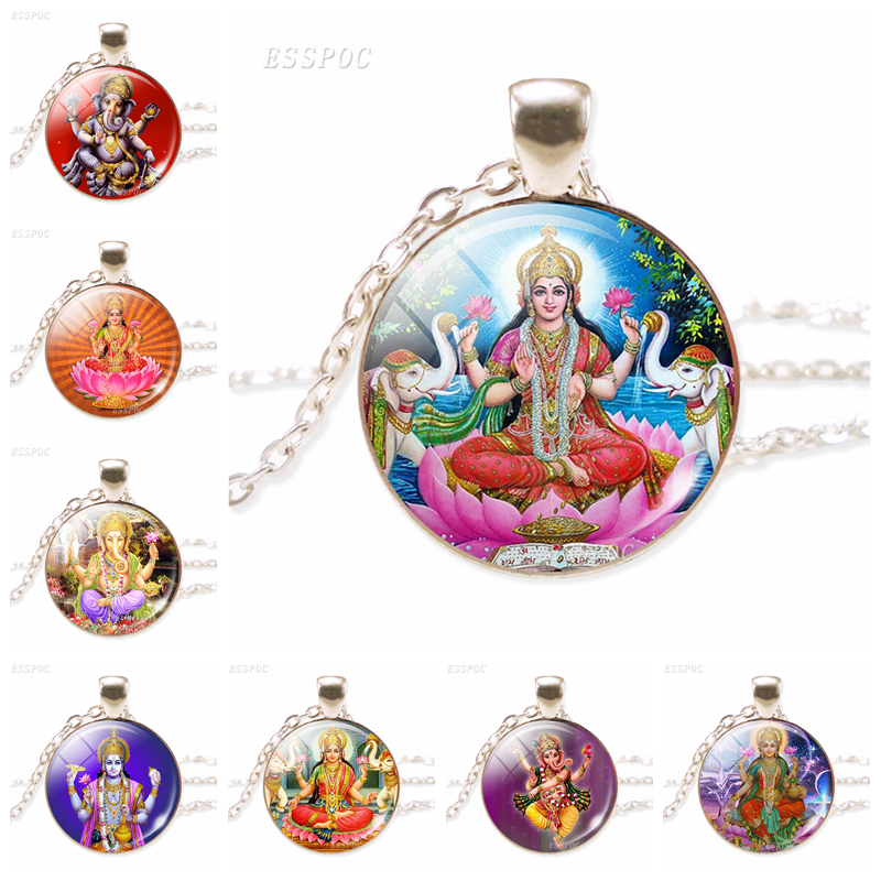 Lakshmi Goddess Pendant Necklace Jewelery Lakshmi Hinduism Amulet Charm Glass Cabochon Pendant for Him or Her