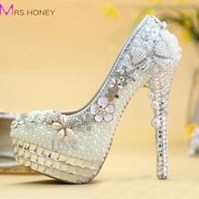 Luxury Bowtie Crystal Wedding Shoes Ivory Pearl Bride Shoes Plus Sie Wedding Dinner Party Prom High Heels Handmade Women Pumps