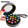 Pro 19 Bottles Round PU Leather Women Essential Oil Case Beauty Travel Trolley Cute Vanity Makeup Cosmetic Bag Double Zipper