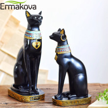 ERMAKOVA Resin Egyptian Cat Bestet Figurine Animal Egyptian Goddess Statue Sculpture Home Bar Office Desktop Decoration(China)