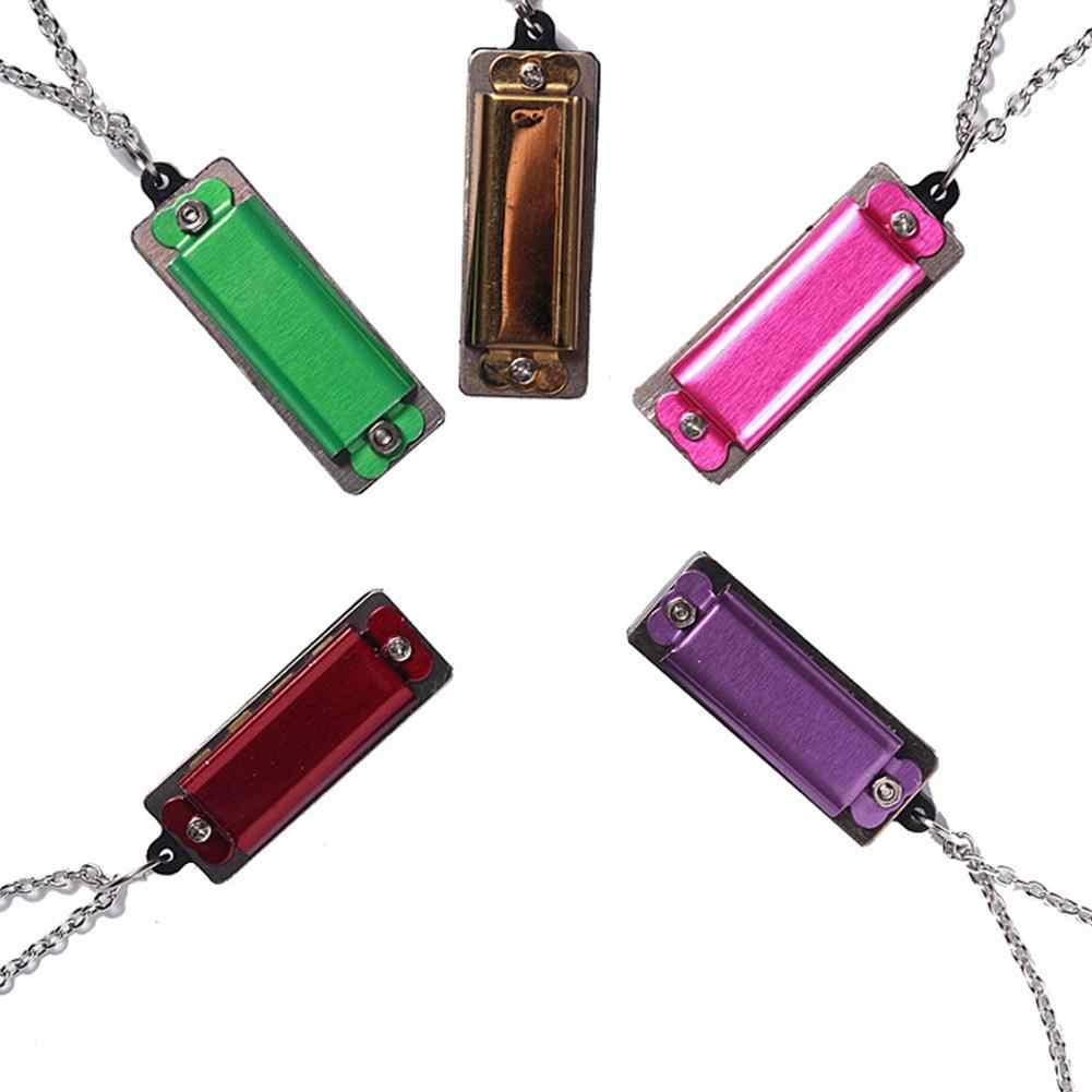 Мини Прочный 4 отверстия 8 тон Гармоника ожерелье Модные ювелирные изделия музыкальная цепь игрушка кулон Драгоценная цепочка ожерелье s