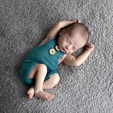 Newborn Props Soft Mohair Baby Boy Girls Costume Infant Knitted Buttons Romper Outfit Baby Props Newborn Photography Accessories