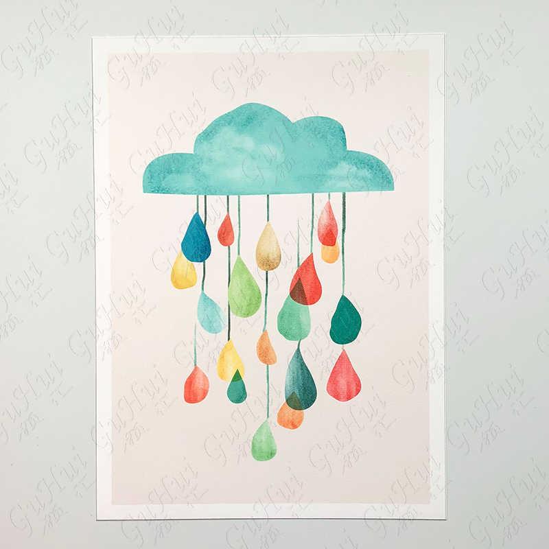 Скандинавский цветной мультяшный зонтик медведь кошка и птица холст картина украшение для детской комнаты изображение животного на стене дождь плакат