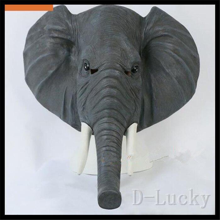 Offre spéciale Halloween accessoires adulte éléphant masque Animal plein Latex mascarade fête d'anniversaire en caoutchouc Silicone visage masque fantaisie robe