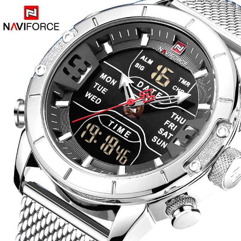 NAVIFORCE 9153 Military Men Watches Men Sports Watch Fashion Clock Waterproof Full Steel Quartz Casual Watch homme Relogio