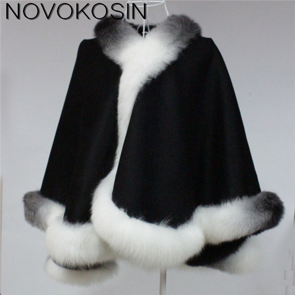 SC01 2017 Winter Warm Luxury Fox Fur Poncho Cashmere Dyeing Shawl Women Real Fur Dip-dye European Black With White Cardigan Coat