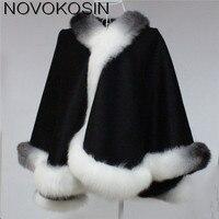 SC01 2017 Winter Warm Luxury Fox Fur Poncho Cashmere Dyeing Shawl Women Real Fur Dip dye European Black With White Cardigan Coat