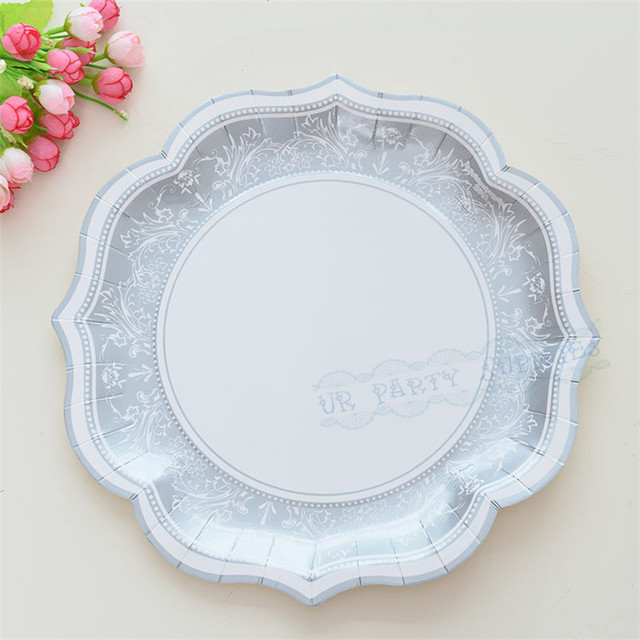 12pcs Silver Retro Paper Plates Vintage Party Decoration Supplies Flowers Disposable Tableware House Moving Paper Plates & 12pcs Silver Retro Paper Plates Vintage Party Decoration Supplies ...