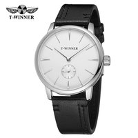 T WINNER Leather Mechanical Watch Men Hand Wind Watches Man Simple Analog Wristwatches Montre Homme Reloj Hombre Reloj Mujer