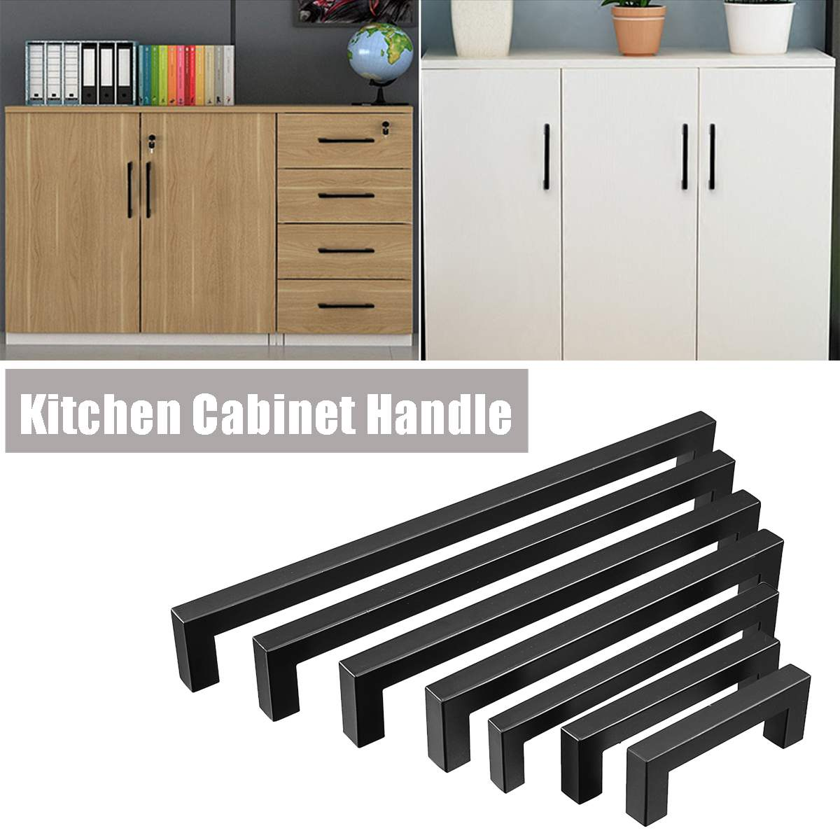 Us 1 91 54 Off 1pcs Black Kitchen Cabinet Handles Modern Door Knobs Stainless Steel Square Closet Drawer Cupboard Pulls Bathroom Cabinet 8sizes In