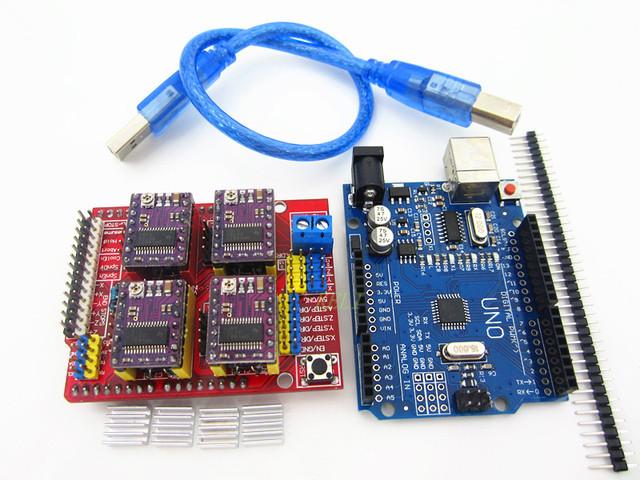 Frete grátis! Impressora 3D máquina de gravura do cnc escudo v3 + 4 pcs DRV8825 motorista board + placa de expansão UNO R3 com cabo USB