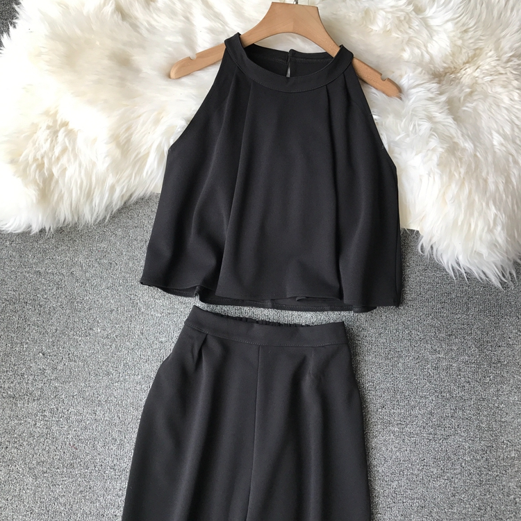 HTB1XFkxVCzqK1RjSZFpq6ykSXXao - two piece set women fashion sexy short top and long pants casual sleeveless Elastic high waist female summer festival clothing
