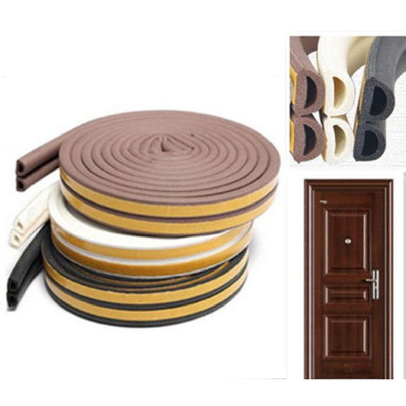 Useful 1pc 5m Self Adhesive D Type Doors and for Windows Foam Seal Strip Soundproofing Collision Avoidance Rubber Seal Collision k 134 car soundproofing shock proof sealed adhesive strip black 3m