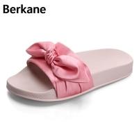 Silk Bow Fashion Slides Women Summer Slippers 2017 Sandals Pink Flat Chinelo Brand Beach Shoes Rihanna Casual Flip Flops Bohemia