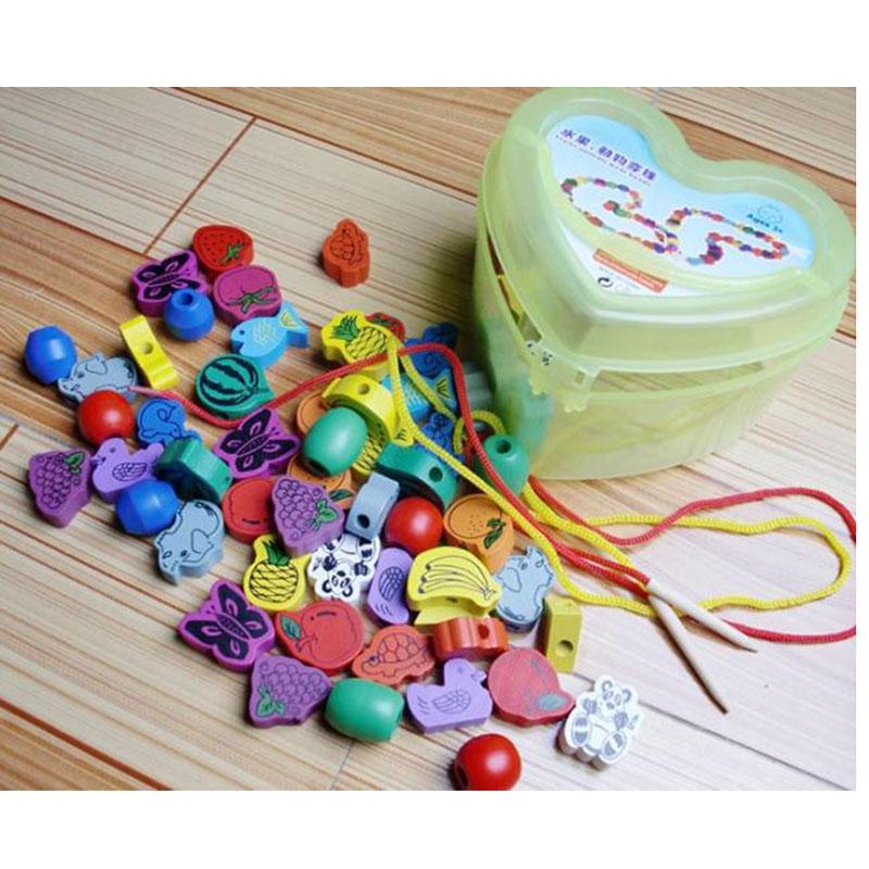 unidades perlas cordn de madera interesante animales ensartar juego bloques de forma de corazn caja