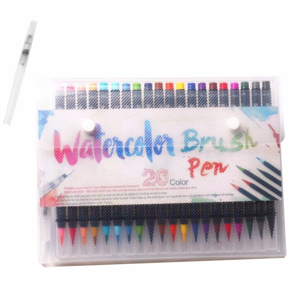 20 Color Premium Soft Watercolor Brush Pen Flexible Tip Painting Brush Water Pens for Children Adult Black Holder Coloring