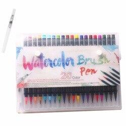 20 cores premium macio aquarela escova caneta flexível ponta pintura escova canetas de água para crianças adulto preto titular coloração