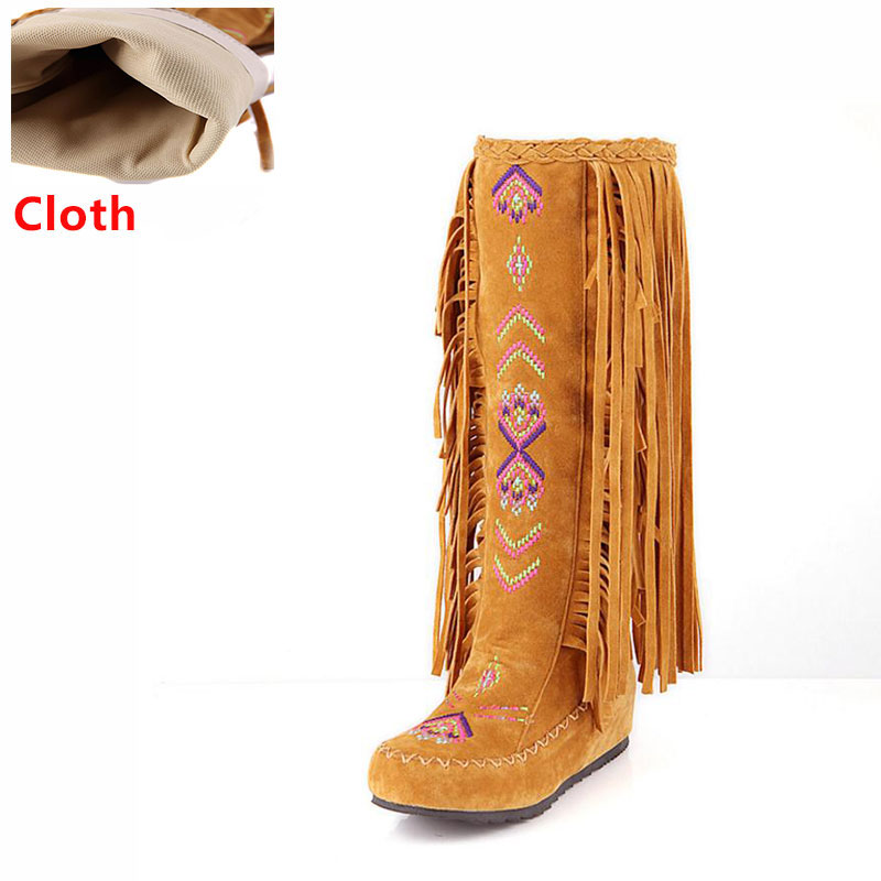 TAOFFEN Fashion Chinese Nation Style Flock Leather Women Fringe Flat Heels Long Boots Woman Tassel Knee High Boots Size 34-43 5