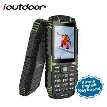 Ioutdoor T1 2G תכונה נייד טלפון מוקשח IP68 עמיד למים טלפון FM GSM SIM כרטיס Led פנס 2MP רוסית מקלדת הסלולר