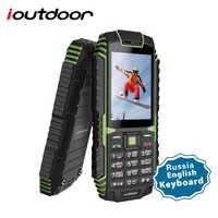 Ioutdoor T1 2G caractéristique téléphone portable robuste IP68 étanche téléphone FM GSM carte SIM lampe de poche LED 2MP russe clavier téléphone portable