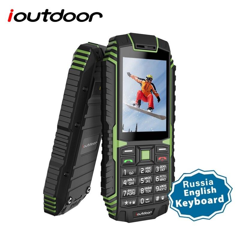 Ioutdoor T1 2G característica teléfono móvil resistente IP68 teléfono impermeable FM GSM tarjeta SIM linterna Led 2MP teclado ruso teléfono móvil