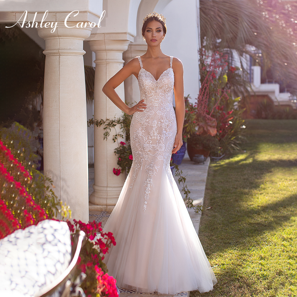 Ashley Carol Sexy Sweetheart Mermaid Wedding Dress 2019 Luxury Beaded Spaghetti Straps Court Train Illusion Back