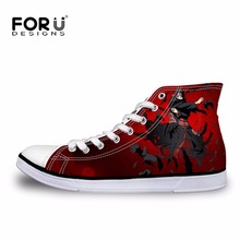 FORUDESIGNS Mens High-Top Vulcanized Shoes Fashion Anime Naruto Cool Uchiha Itachi Printed Men Canvas Shoes Students Boys Flats