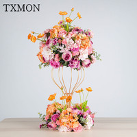 Свадебный реквизит украшение свадебный основной стол цветок искусственный цветок сцена выставка декораций цветок шар кованого железа