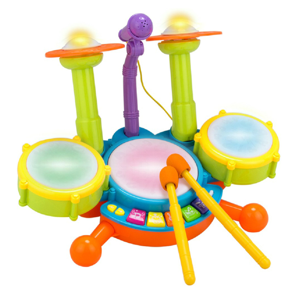 купить Children Kids Musical Microphone Drum Kit Set Instrument ToyPuzzle Early Educational Toy for Boys Girls недорого