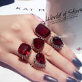 Red Ruby Crystal Wedding Finger Ring for lady bridal stone  crystal fashion created diamond ring marriage accessories